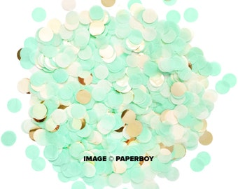 "Mint & Gold Confetti - Tissue Paper - Mint Green Ivory - 1"" Circle One Inch Handmade Hand Cut - Choose .5 oz or 1 oz"