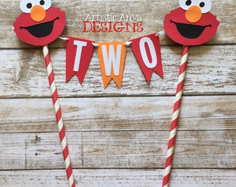 Elmo Birthday Age Cake Bunting Topper - Smash Cake - Sesame Street Party - Red and Orange Elmo Decorations