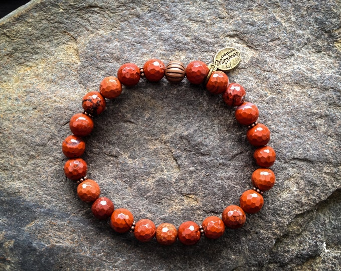 Yoga intention bracelet stone root chakra faceted Red Jasper Mala inspired boho jewelry handmade by Creations Mariposa BI-JR