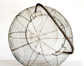 Stunning Extra Large French Antique Wire Egg Basket - Handmade Metal Wire Basket - French Egg Basket - Shabby Chic Basket - French Rustic