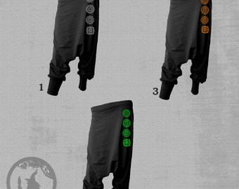 CHAKRAS Unisex harem pants with two inside pockets on the left side and on the right side[with no pockets for womens] -Festival Wear