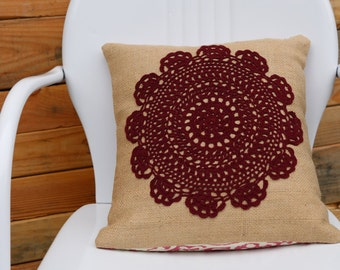 Burlap & Lace Pillow Cover - Doily Pillow Cover - Coffee Sack Pillow - Farmhouse Pillow - Boho Pillow - Decorative Pillow - Vintage Doily