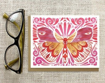 Butterfly Greeting Card, Mothers Day Card, Blank Card, Any Occasion, Pink, Red, Girly Card, Stationery, Thank You Card, Love, Romantic
