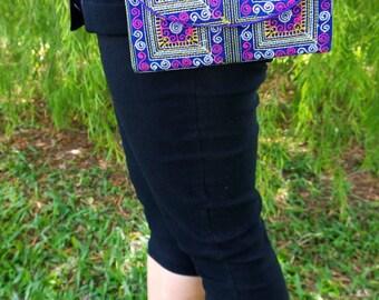 Gypsy Crossbody Bag - hmong ethnic bag - boho tribal bag  ( FREE SHIPPING WORLDWIDE )