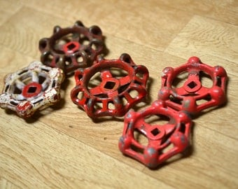 5 Mismatched Red Faucet Handles Lot Water Valve Handle Spigot Handle Hexagon Octagon Faucet Knob Red Mixed Knob Lot Industrial Salvage