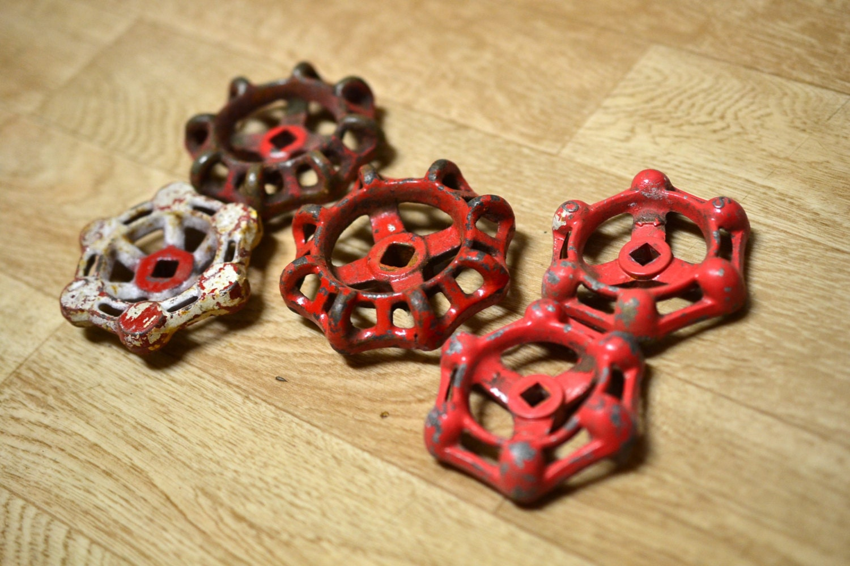 5 Mismatched Red Faucet Handles Lot Water Valve Handle Spigot Handle ...