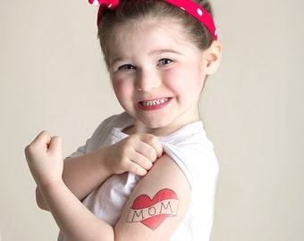 fake tattoo for kids mothers day gift for mom red heart tattoo photography supply children photoshoot prop funny mothers day present for mum
