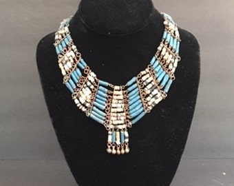 Vintage Egyptian Faience Bead Necklace Bohemian Style Statement Necklace Free Shipping