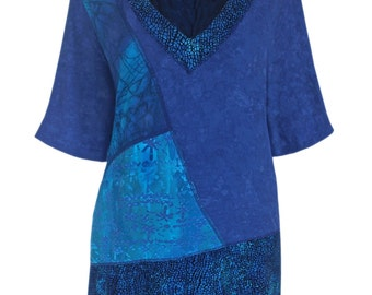 Tunic Top Oversized, Plus Size Clothing for Women, Boho Blue Batik Tunic Top, One Plus Size for the Full Figure Woman, 2x 3x Clothes