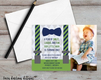 Bow Tie and Suspenders Boys Birthday - PRINTABLE kids birthday invitations, 1st birthday invitations, personalised birthday invitations