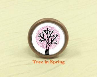 Tree in Spring - Dresser Drawer Knobs Drawer Knob Pulls Handles / Kitchen Cabinet Knobs Handle / Antique Bronze Silver Gold Knob Hardware