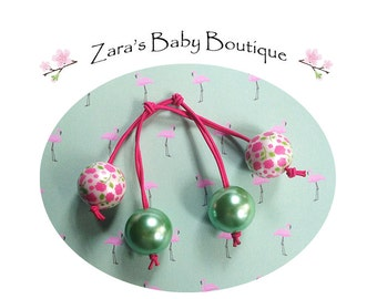 Retro Hair Bobbles * Flower Hair Elastics * Vintage Hair Holders * Girls Hair Accessories * Hair Ties * Pink * Green * Zara's Baby Boutique