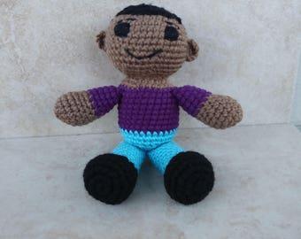 African American Boy Doll. Crochet Boy Doll. Purple and Blue Doll. Handmade Doll. Soft Boy Toy. Baby Boy Toy. Gift For Boy. Gift for Man.
