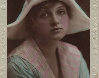 Gladys Cooper, floppy hat, Edwardian stage, theatre and film, real photo, Rajar Bromide, embossed postcard, tinted, pink blue  (rppc/ac62)