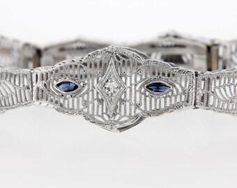 10K Gold Diamond Sapphire Bracelet