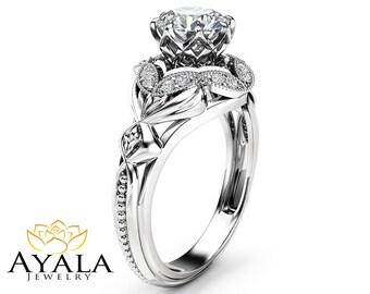 Moissanite Designer Engagement Ring 14K White Gold Engagement Ring Diamond Alternative Designer Ring