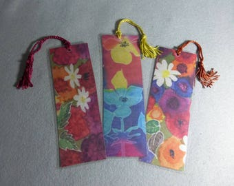 "Bookmarks (set of 3) ""Bright Flowers"", Hand Painted Silk Art Bookmarks"