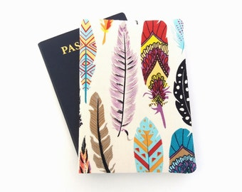 Tribal passport wallet, Feathers passport holder, Cover for 2 passports, Girl travel wallet, Woman traveler gift, Passport covers for her