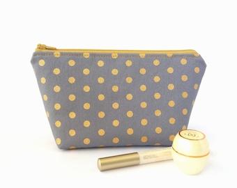 Metallic makeup bag, Gold dots makeup pouch, Makeup zipper bag, Small cosmetic bag, Grey zipper pouch, Travel makeup bag, Cute make up pouch