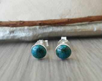 Chrysocolla Earrings, Sterling Silver, Chrysocolla Studs, Natural Stone, Green Chrysocolla, Emerald Green, Modern Studs, Green Stone Studs