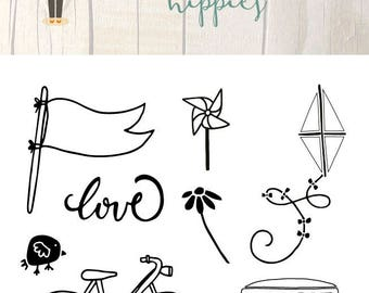 Clear Scrapbooking Stamp HIPPIES