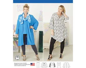 Simplicity 8097 Women's Plus Size Tunic, Top, Kimono and Knit Leggings FF (18W 20W 22W 24W)