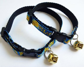 Adjustable breakaway cat collar, pokemon pikachu blue with gold coloured bell in adult or kitten sizes.