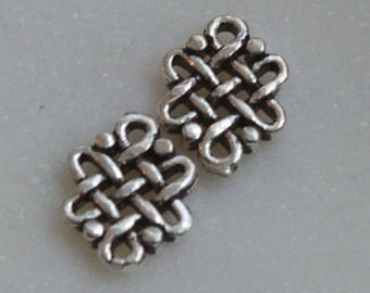Sterling Silver Tibetan Endless Knot Connector Bead,Tibetan Beads,Endless Knot Earrings or Bracelet,Tiny Silver Endless Knot, Pairs,KP16-004