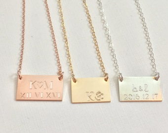 Anniversary Date Necklace, Wedding date necklace, initial necklace, Personalized Necklace, Gold Necklace, gift for mom, engraved necklace,