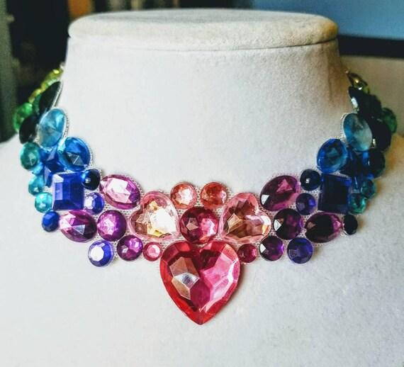 Soft Rainbow  - rhinestone bling necklace, illusion necklace, rhinestone bib, floating necklace, rhinestone statement necklace