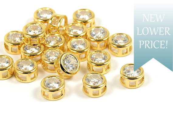 Simple Round Circle Charm/ Pendant with Cubic Zirconia in Gold Plating - 2 pcs/ order