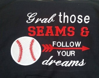 Grab Those Seams - Follow Your Dreams - Boys Baseball Shirt - Game Day Shirts - Baseball Fan Gift - Team Spirit Shirts - Baseball Shirts