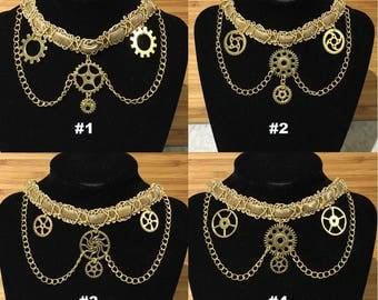 Gold Steampunk Gears & Chains Choker