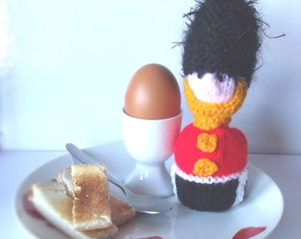 Soldier Egg Cup Cosy - Hand Knitted Soldier/Queens Guard Soldier/Home Decor/Kitchen Decor/Easter Gift/Birthday Gift/London Foot Guard