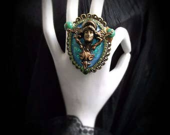 Baroque ring, green, blue and gold ring, Bohemian ring, Vintage jewelery, Art nouveau ring, Baroque ring, Rococo ring, Art nouveau ring,