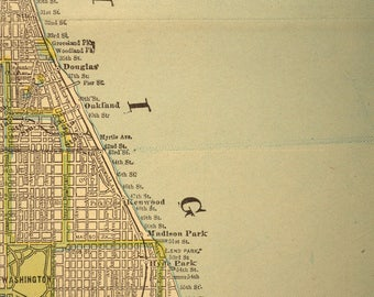 Chicago Map Chicago Street Map Early 1900s 1907 Original