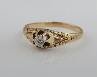Victorian 14k Diamond Wedding Ring.