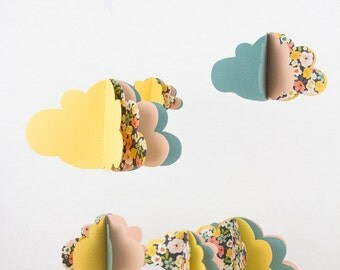Mobile clouds paper + Garland matching clouds - yellow green flowers - one - gift decor baby room nature girl