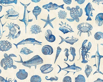 Fish Blueprint Fabric Fat Quarter, Third Yard, Half Yard, or By-The-Yard; 25831E; Quilting Treasures; Ocean Oasis; Fish, Shells, Seahorse