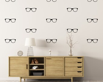Set of 50 Pairs of Glasses, Spectacles, Geek Chic, Wall Stickers, Wall Pattern Decals, Optometrist, Eyeglasses, Vision, Looking Glass