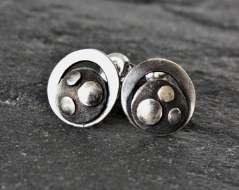 Artsy earrings, budhhist turtle earrings, sterling silver stud earrings, oxidized silver studs, abstract earrings, buddhist jewelry