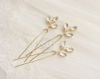 Crystal Hair Pins, Wedding Hair Pins, Gold Leaf Hair Pins, Bridal Hairpiece, Rhinestone Hair Pin, Crystal Bridal Hair Accessories, Gold Pins