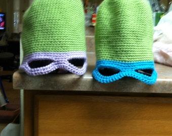 Crocheted teenage ninja turtle hats