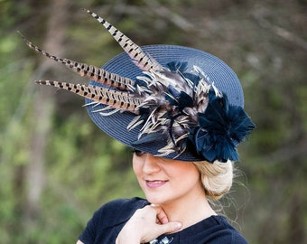 Hat Royal Ascot has Ballhut Kentucky Derby has horse racing couture Millinery Sinamay hat wedding Fascination U3