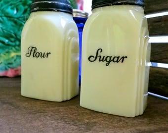 Custard Glass Range Shaker, McKee Roman Arch Glass Shakers, Art Deco Sugar Flour Shaker