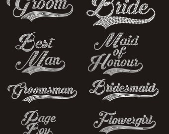 Wedding Iron On Rhinestones Transfers, Exclusive and Unique Design FREE POSTAGE Australia Wide