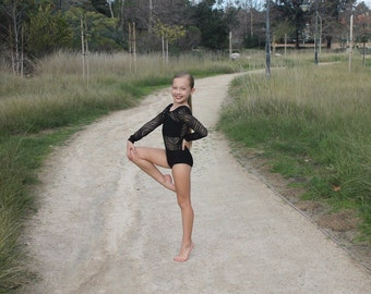 Black leotard. Long sleeves. Dancewear