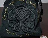 Exclusive Knotwork Cthulhu Embroidered Lined XL Drawstring Tile/Dice Bag - Made to Order