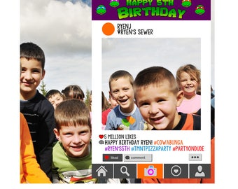 Instagram Style Frame - Teenage Mutant Ninja Turtle Edition - birthday party photo prop, boy birthday, girl birthday, PRINTABLE FILE