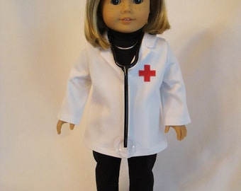 Doctor Lab Coat and Stethoscope Medical 2-Piece Set for American Girl Doll and 18-inch Dolls -Bitty Twins Doll Physician Doll Set Bitty Baby